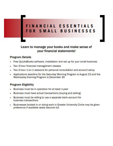 financial essentials for small business template