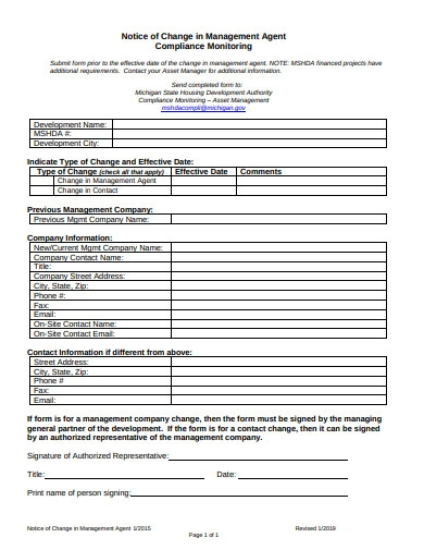 form of management agent change notice