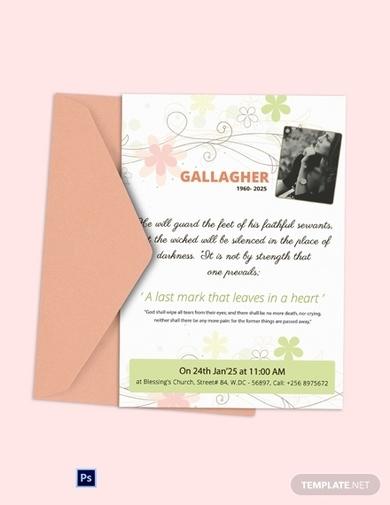 funeral obituary program invitation card