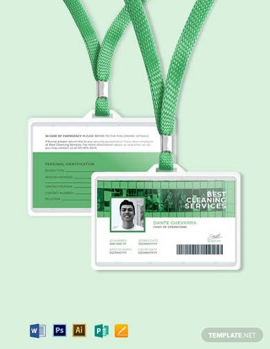 horizontal cleaning service id card