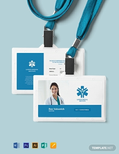 horizontal doctor id card