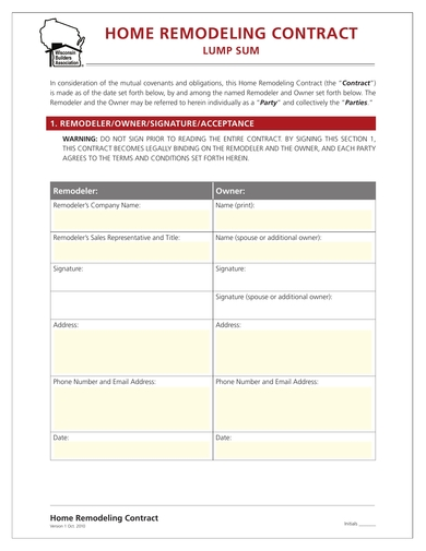 house remodeling contract