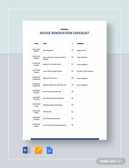 house renovation checklist template