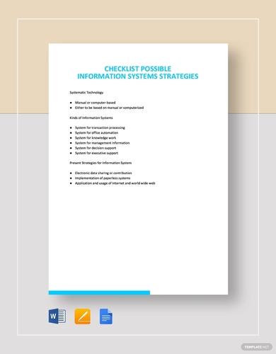 information system strategies checklist