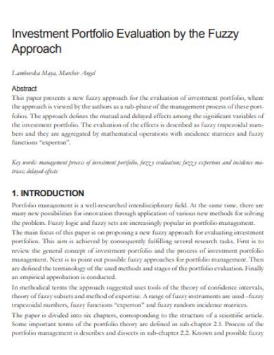 investment evaluation portfolio example