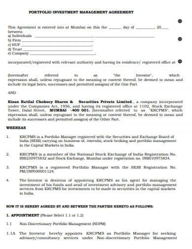 investment portfolio management agreement