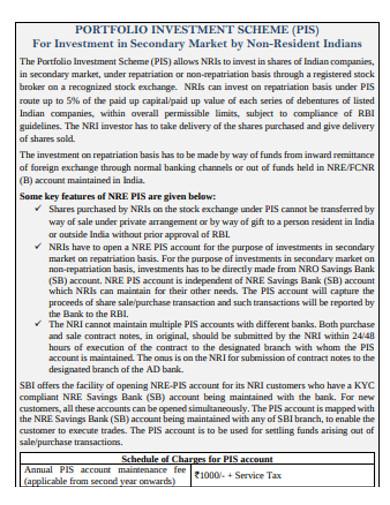 investment portfolio scheme example