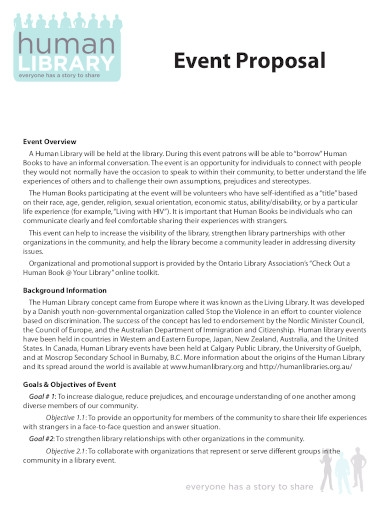 library event planning proposal