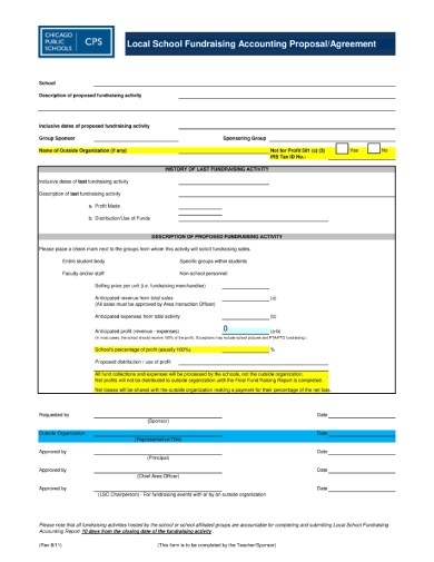 local school fundraising accounting proposal form