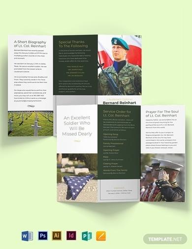 military obituary funeral program tri fold brochure