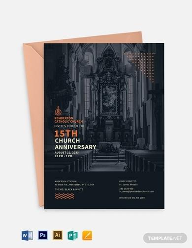 modern church anniversary invitation