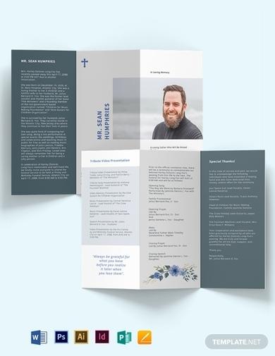 modern funeral obituary program tri fold brochure