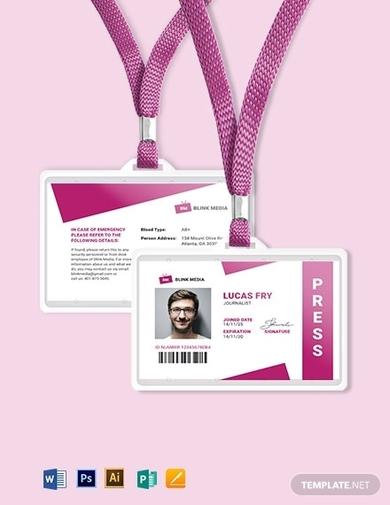 modern press id card format