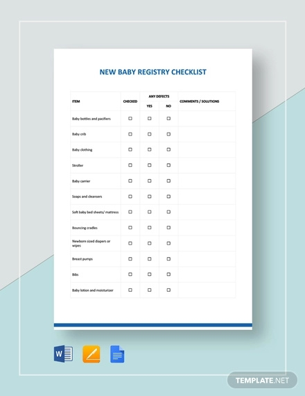 new baby registry checklist template