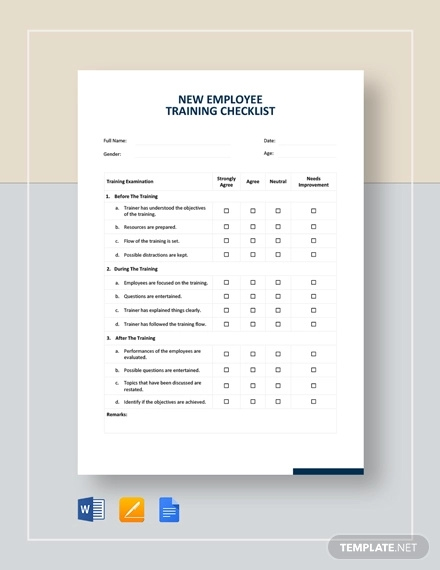 new employee training checklist template