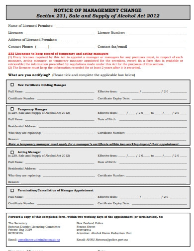 notice of management change form example
