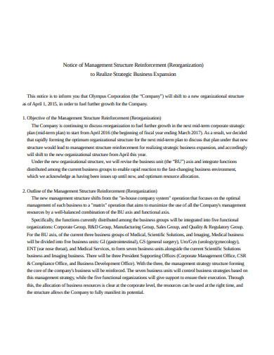 notice of management structure reinforcement