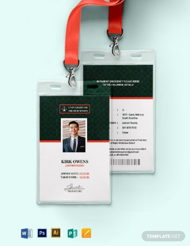 portrait format professor id card