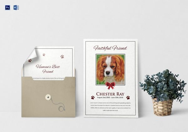 premium pet funeral obituary program