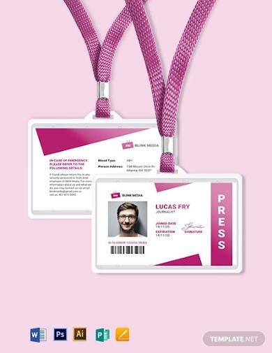 press id card format
