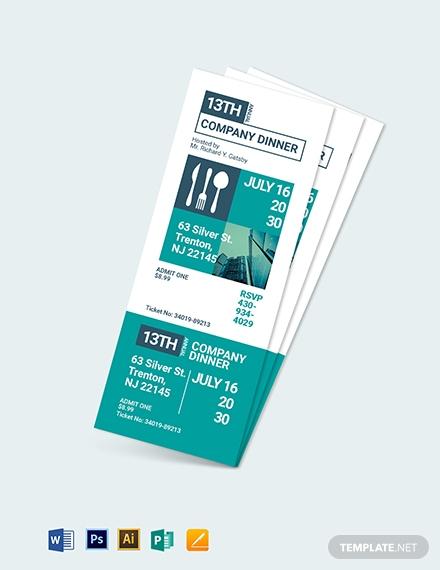 printable dinner ticket