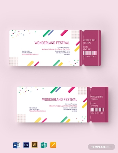printable festival ticket