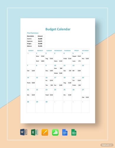 rental budget calendar