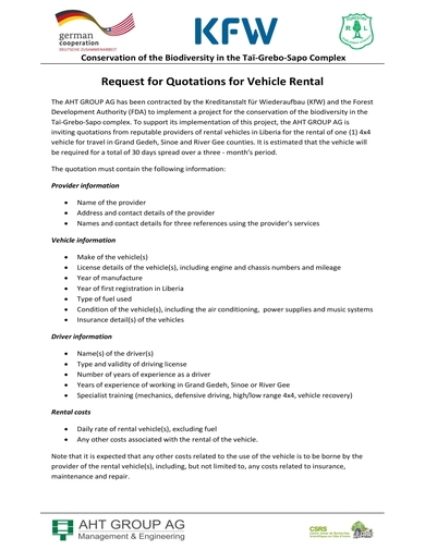 request for quotations for car rental