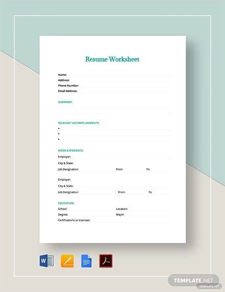 resume worksheet template