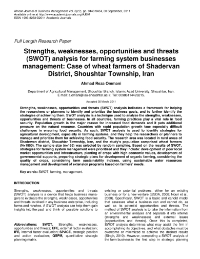 swot analysis for farming system businesses
