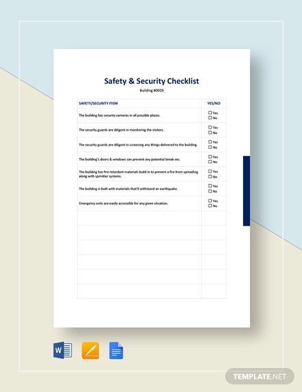 safety security checklist template