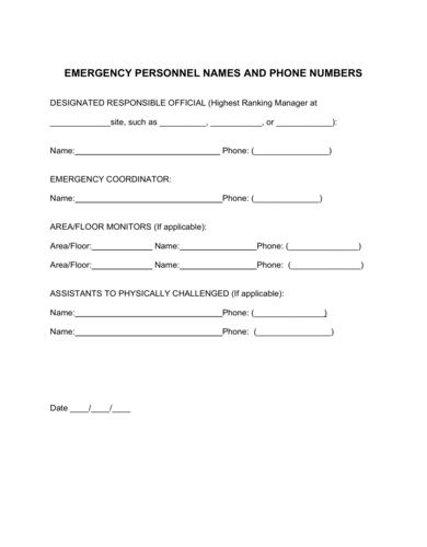 sample emergency plan