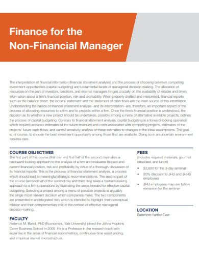 sample finance for the non financial manager