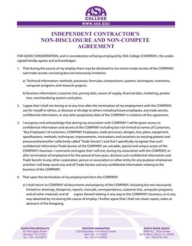 sample non disclosure and non compete agreement