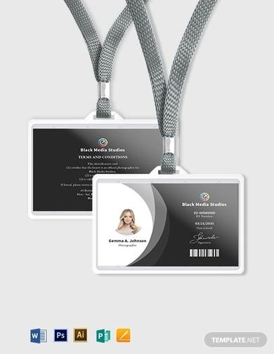 sample photographer id card