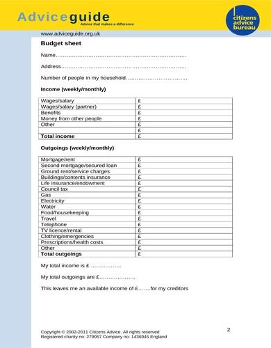 sample rental budget sheet