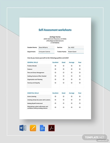 self assessment worksheets template