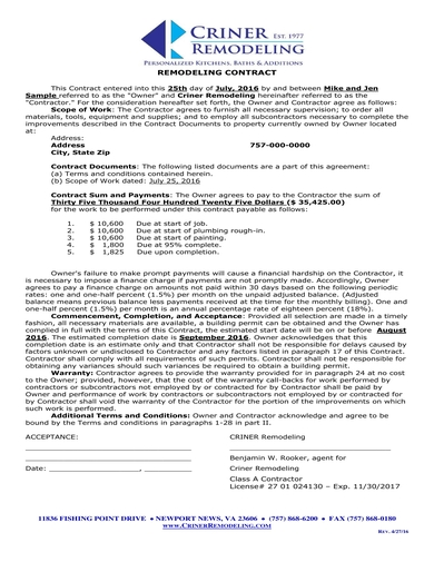 simple home remodeling contract