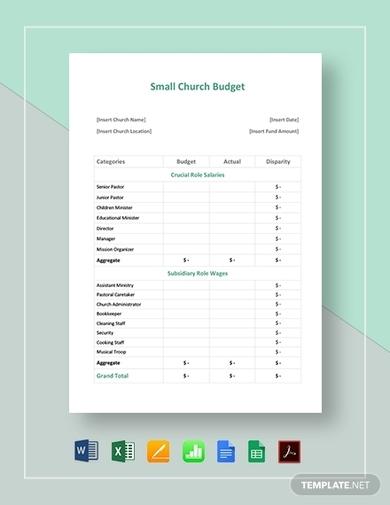 small church budget