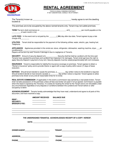 standard house rental agreement