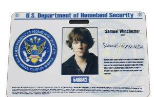 supernatural homeland security sam winchester prop id card 300x189