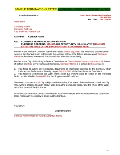termination letter – construction bid opportunities