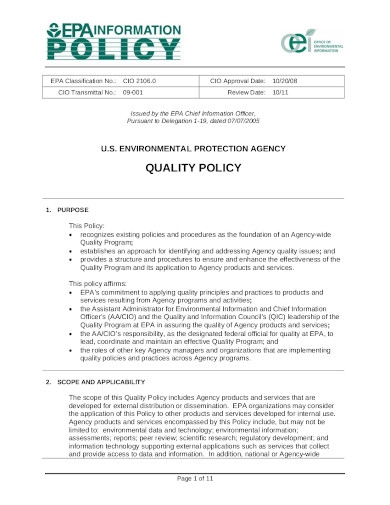 us environment protection agency quality policy
