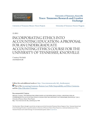 undergraduate accounting ethics course proposal