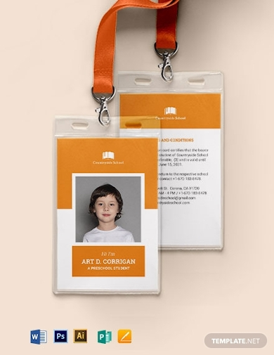 vertical preschool id card