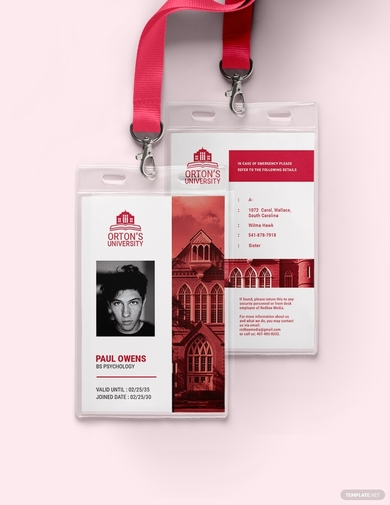 vertical university id card