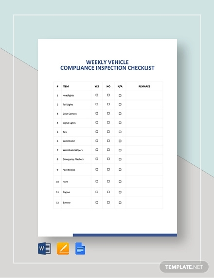 weekly vehicle inspection checklist template