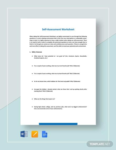worksheet self assessment template