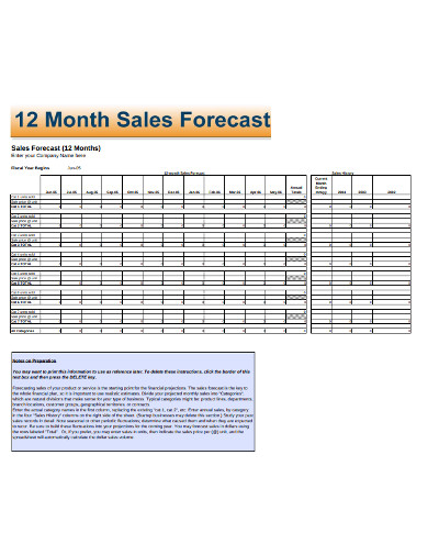 12 month sales forecast example
