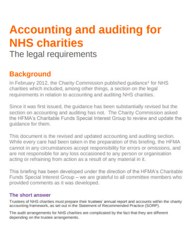 accounting and auditing for charity example